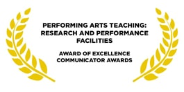 Award for performing arts teaching golden leaves on a white background