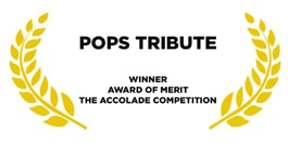Award for pops tribute golden leaves on a white background