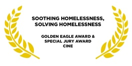 Award for soothing homelessness golden leaves on a white background