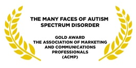 Award for the many faces of autism golden leaves on a white background