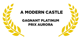 Award for a modern castle golden leaves on a white background