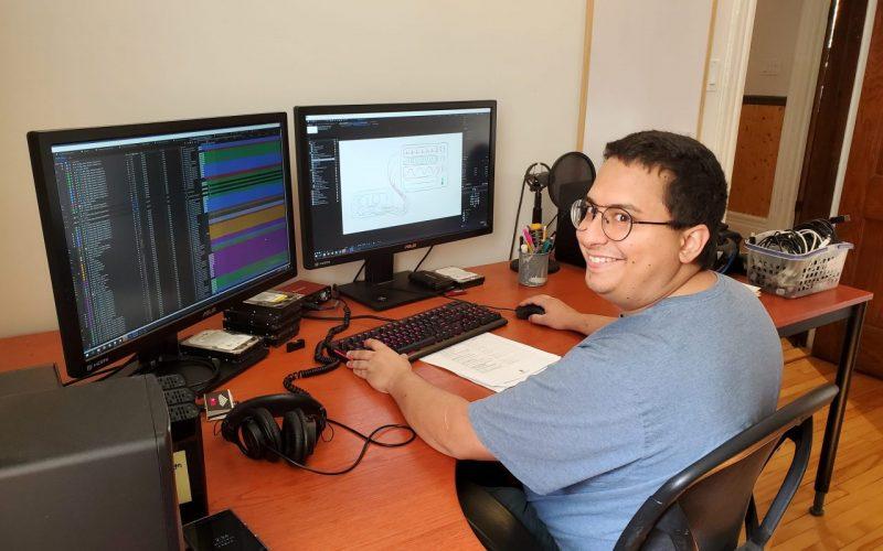 Emilio in the editing suite